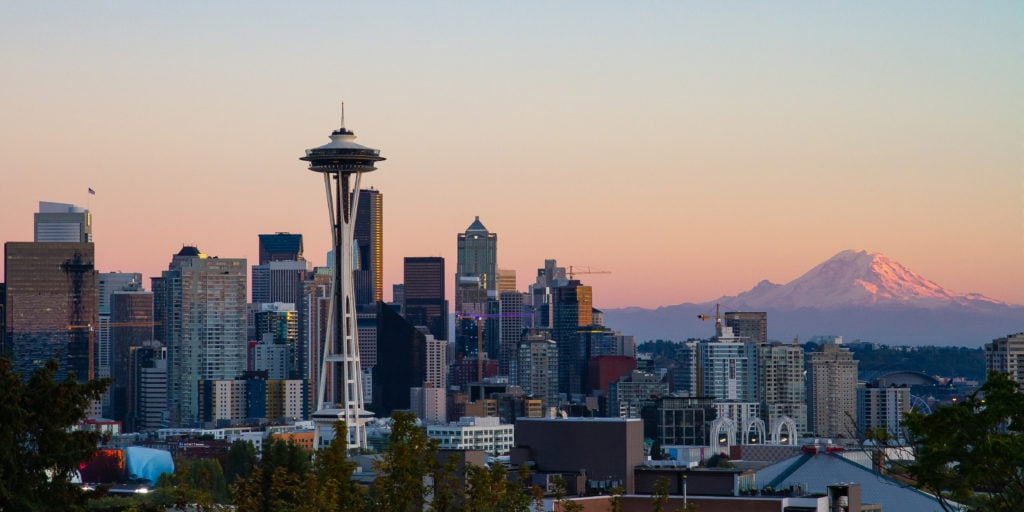 A view of the Seattle city skyline.